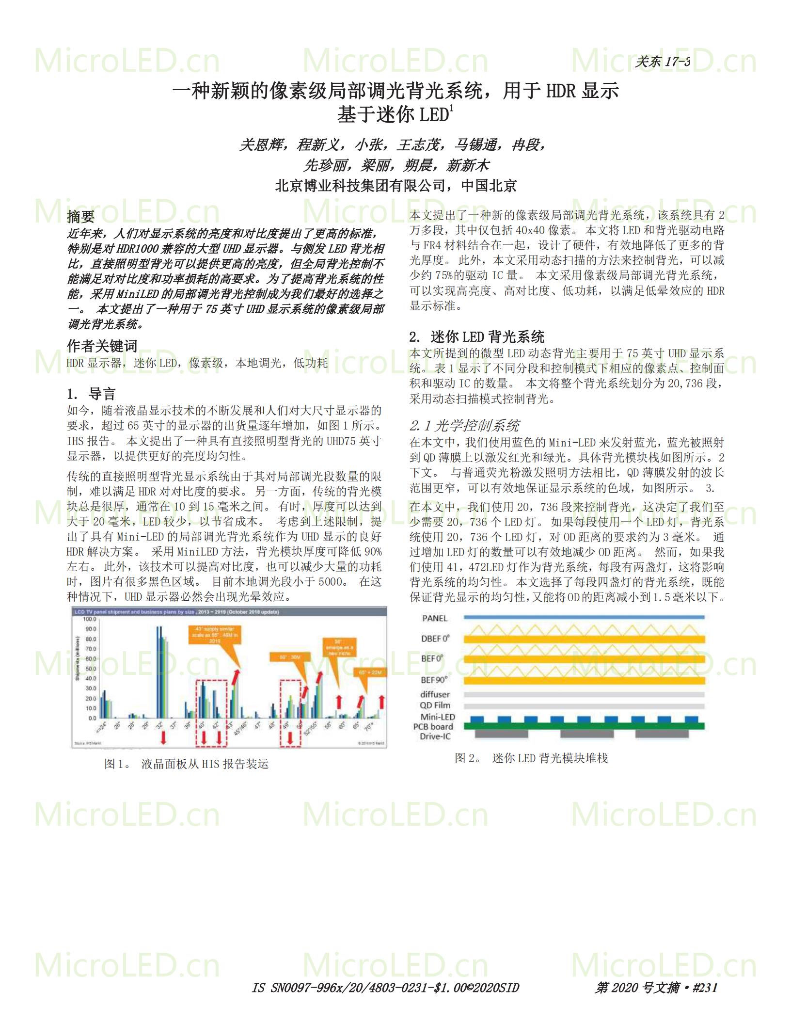 一种新颖的像素级局部调光背光系统,用于 HDR 显示 基于MiniLED  第1张