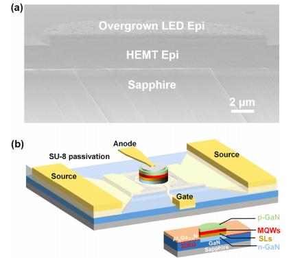 采用直接外延方法实现单片芯片集成一个HEMT和高调制带宽的单个MicroLED  第6张